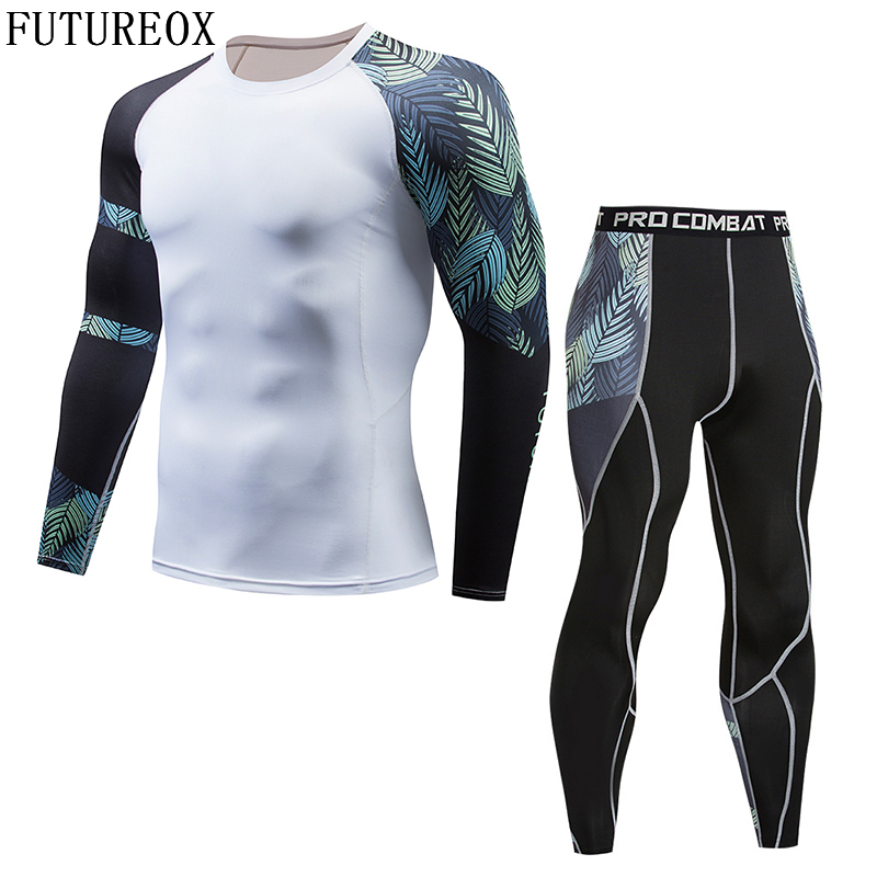 2018 New Mens Thermal Underwear Set Compression Shirt Iron Tree Leaves Fleece Sweats Quick-drying Underwear Men Long Johns