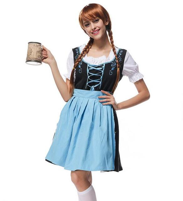 3a1fa69955c71 Femmes Traditionnelle Allemande Dirndl Robe Oktoberfest Bière Costume  Bavarois Tenue ...