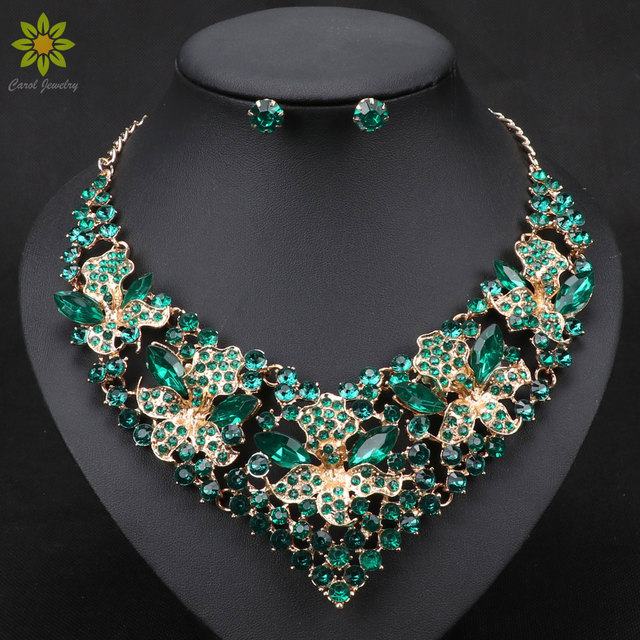 Fashion Trendy Nigerian Wedding African Beads Jewelry Sets Crystal Necklace Earr