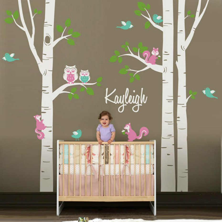 Cute Owl Squirrel Birch Tree Wall Stickers Personalized Name Nursery Vinyl Baby Wall Sticker Decals for