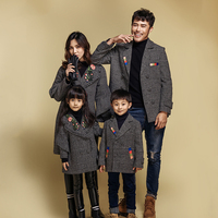 Family matching clothes father and son woolen coat Mother and daughter Embroidery topcoat family matching outfits overcoat