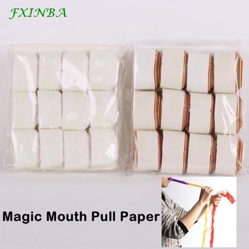 FXINBA 12Pcs/Set Mouth Pull Paper Mouth Coils Ribbon Magic Tricks Props Easy Magic Trick For Professional Magicians Prank Tricks