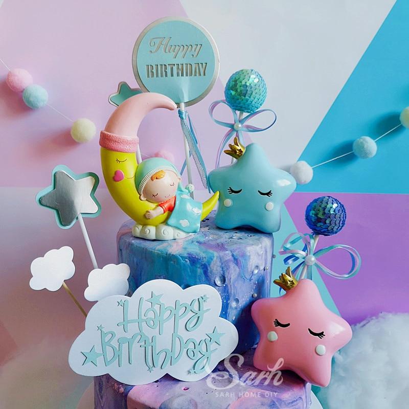 Blue Pink Star Moon Sleeping Baby Cake Decorations
