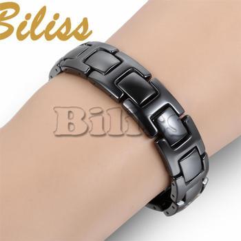 Classique Cool Noir Céramique Bracelet Magnétique Pierre Thérapie Santé Bracelets Bracelets Hommes Bijoux de 21*12mm pulseras hombre