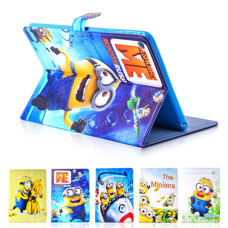 цены  Case for ipad mini 1 / 2 / 3 The MINIONS despicable me smart sleep magnetic snap tablet PU leather Cover flip stand shell coque