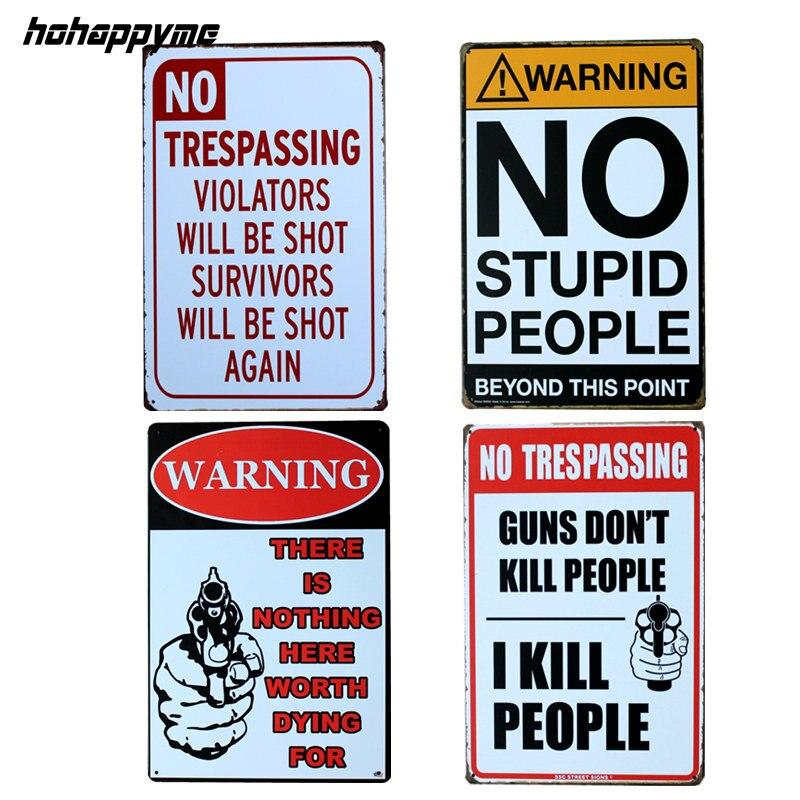 Pistolet Humor Drôle Littérale Américain Étain Signes Café Mur Signe Art Bière Signes Art Vintages 20*30 cm