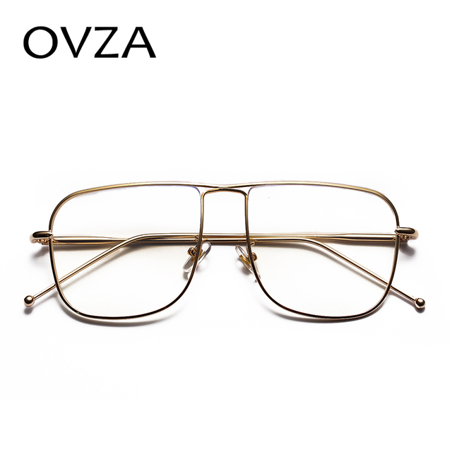 64ddfa2e90b1 OVZA Rectangle Eye Glasses Frames Women Fashion Big Frames Glasses Mens  Metal Eyewear S1080