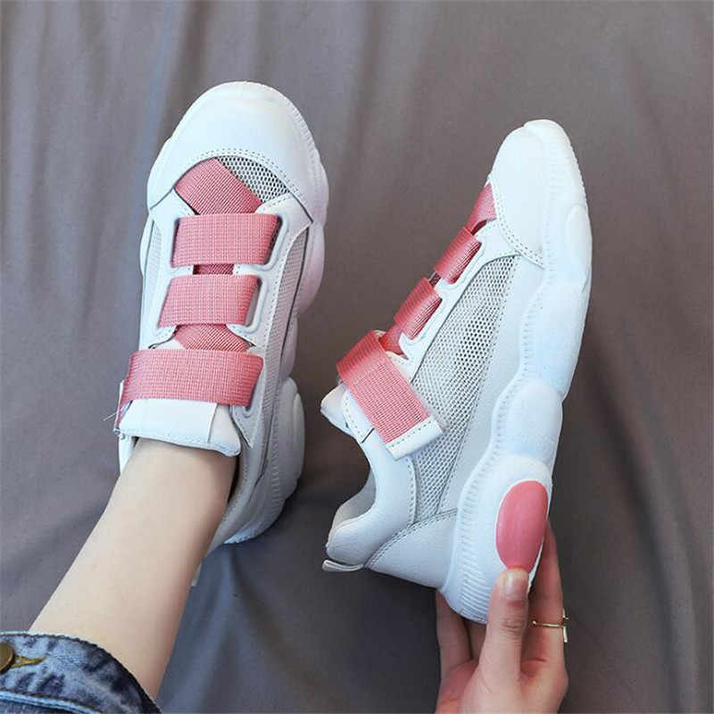 DIWEINI Pink Women Sneakers Breathable Soft Ladies Leather Shoes Autunm Casual Slip on Women Shoes Causal Shoes Slipony Women