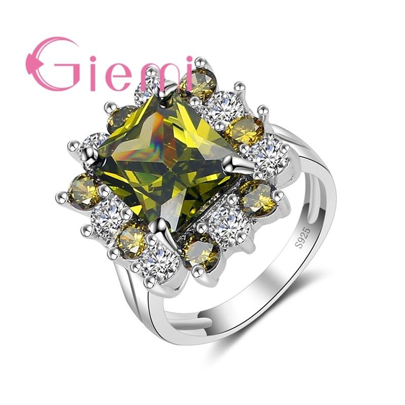 689dcb7c376b GIEMI auténtica Plata de Ley 925 joyería brillante verde oscuro piedra  cristalina más nueva flor anillos para las mujeres mejor Bijoux regalos ...