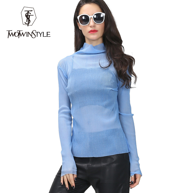 [TWOTWINSTYLE] 2016 Homemade Spring Summer Female Slight See Through Embossing Pattern Turtleneck Base Long Sleeve T-Shirt Women