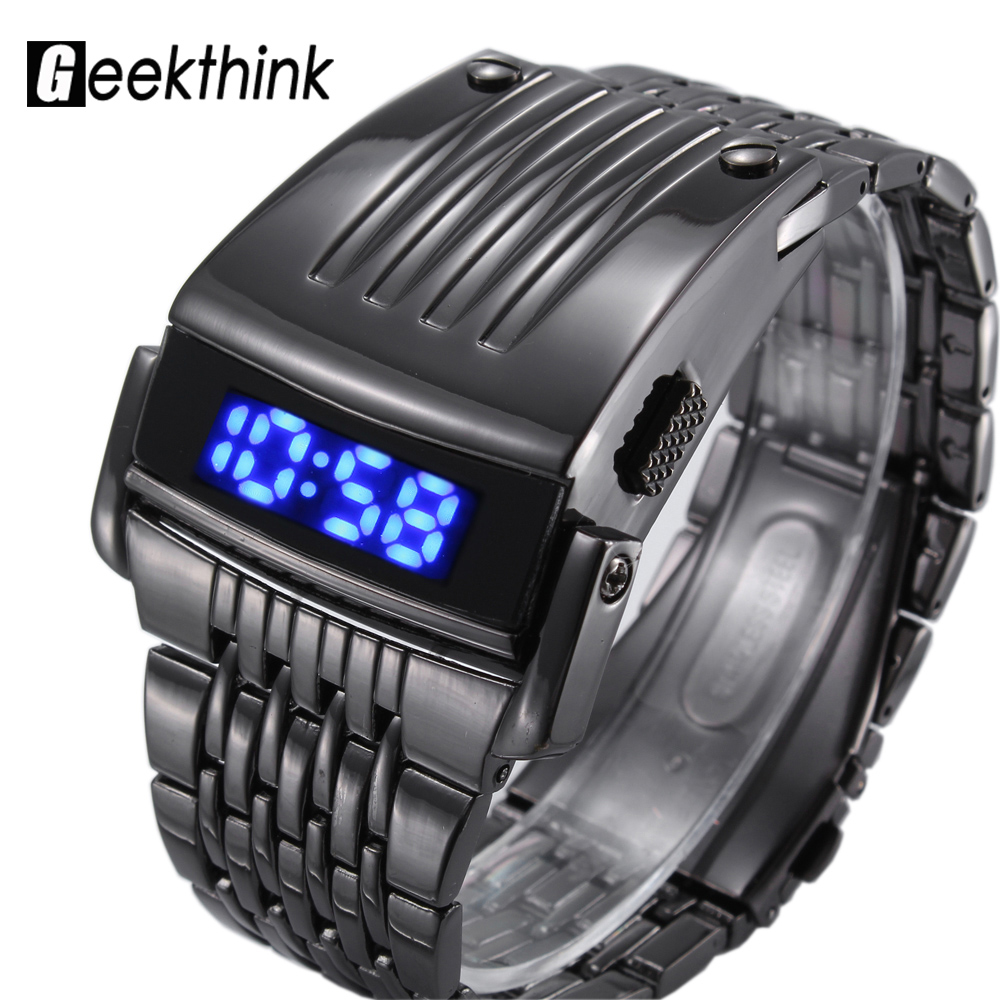 Fashion Brand Digital Sport Watch Led Herr Militär Lyx Klocka Man Full Stål Armbandsur Relojes Hombre 2017 New Relogio