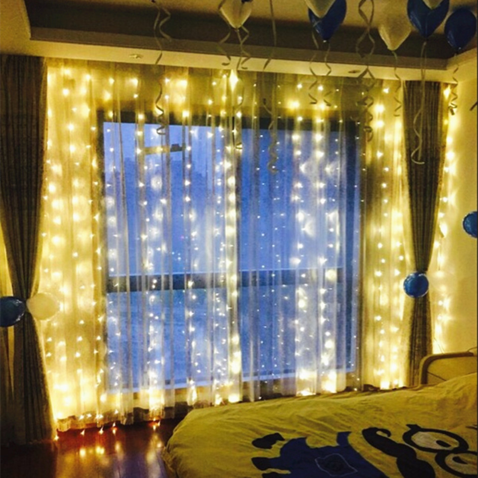 Curtain lights for weddings - 3 1m 300led Copper Curtain Light Holiday Xmas Decoration Icicle Lighting String For Christmas Wedding