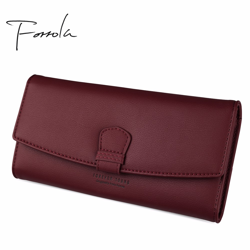Women Fashion Leather Hasp Tri Folds Wallet Portable Multifunction Long Change Purse Hot Female Pink Coin