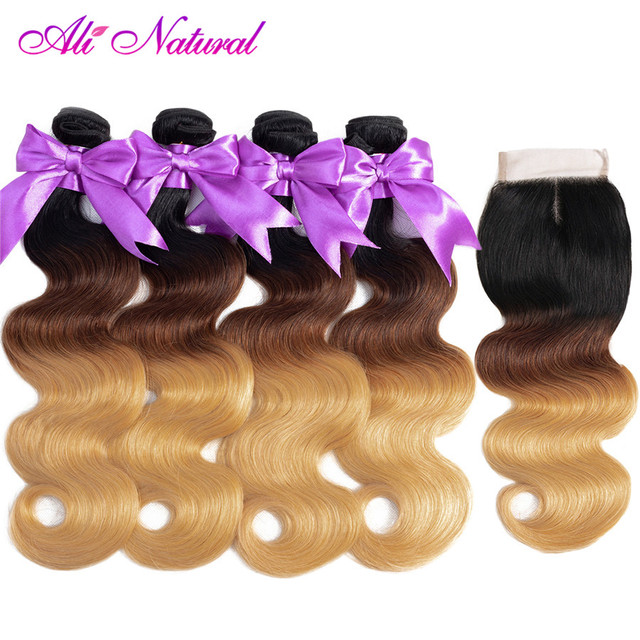 Ali Natural Ombre Body Wave Bundles with Lace Closure Peruvian Human Hair Weave Bundles 1B/4/27 3 Tone Honey Blonde Remy Hair