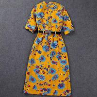 New Brand Lady Flowers Printing Slim Classic Half Sleeve Fashion Dress Cotton Linen Dress With Belt