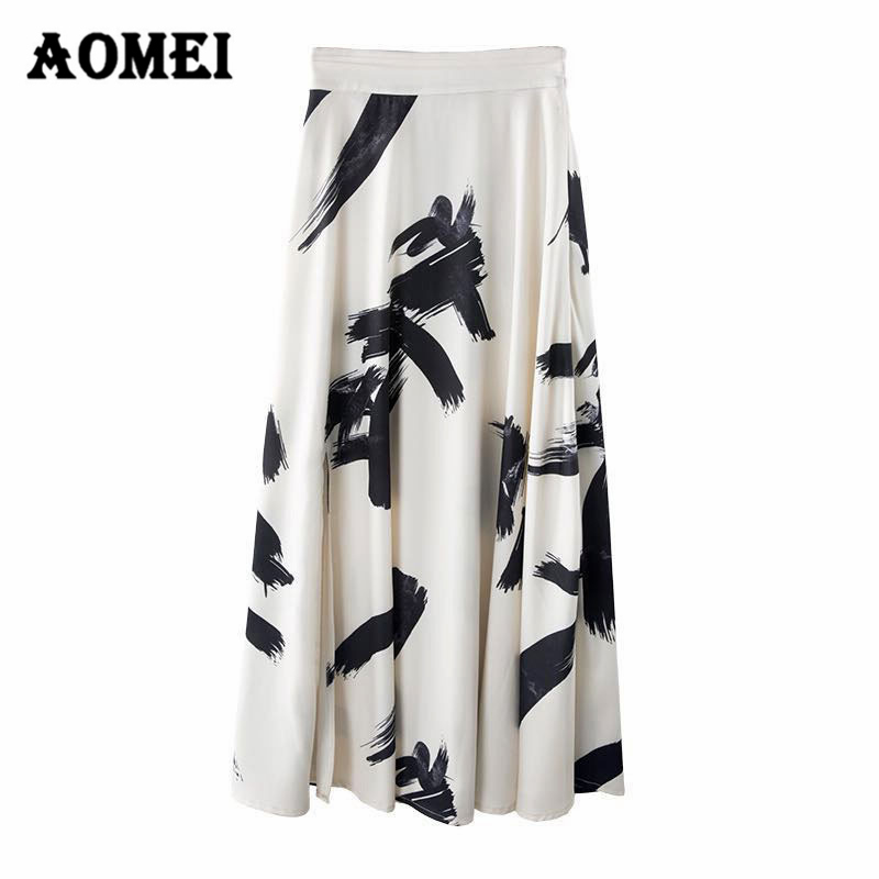 Women Summer Maxi Long Black White Printed Skirt Women's Skirts