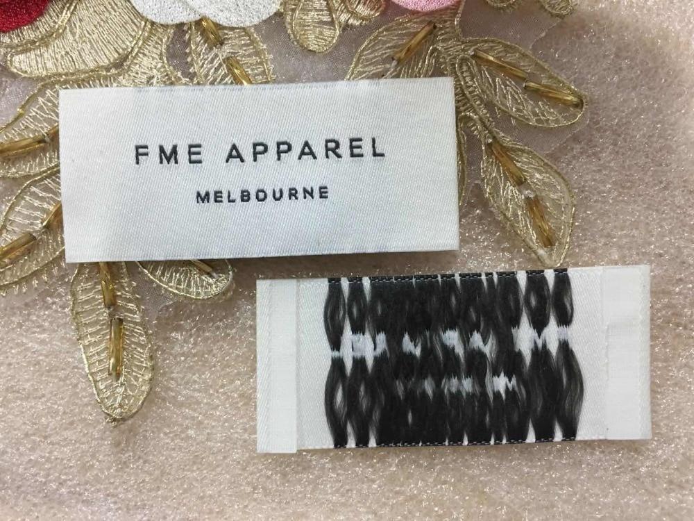 FME APPAREL Customized woven label garment tags main label Damask Satin Taffeta clothing label End