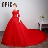 Real Photo Customized Luxurious Lace Top Quality Royal Train Red Wedding Dress 2020 Lace Wedding Gown Cathedral Wedding Dresses