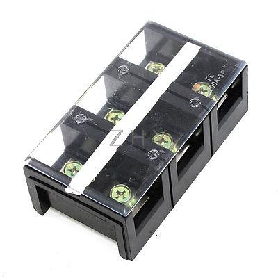 600V 200A Double Rows 3P 3 Positions Covered Barrier Screw Terminal Block