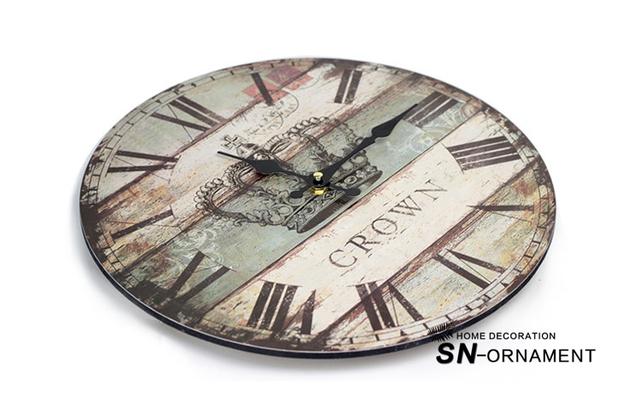 Nostalgia British Style Wood Crown Large Wall Clocks Europe Circular Coloured drawing Clocks 35CM