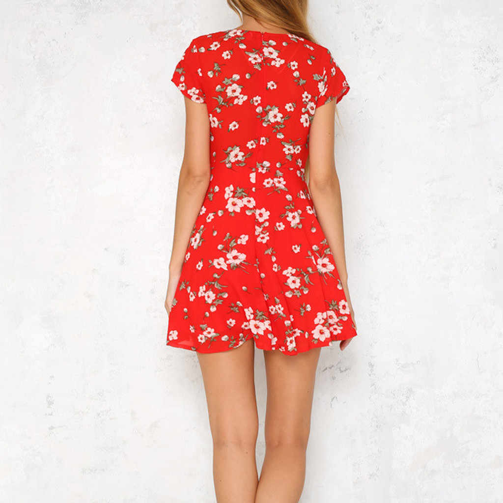 Женское летнее платье с цветочным принтом, короткий рукав, пляжные платья 2019, винтажная мода, сексуальный v-образный вырез, высокая талия, бохо, Сарафан vestidos