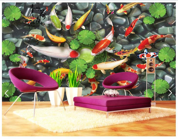 Customized 3d Photo Wallpaper 3d Wall Murals Wallpaper Koi Fish Play HeChi Fresh TV Sofa Background 3d Living Room Wallpaper