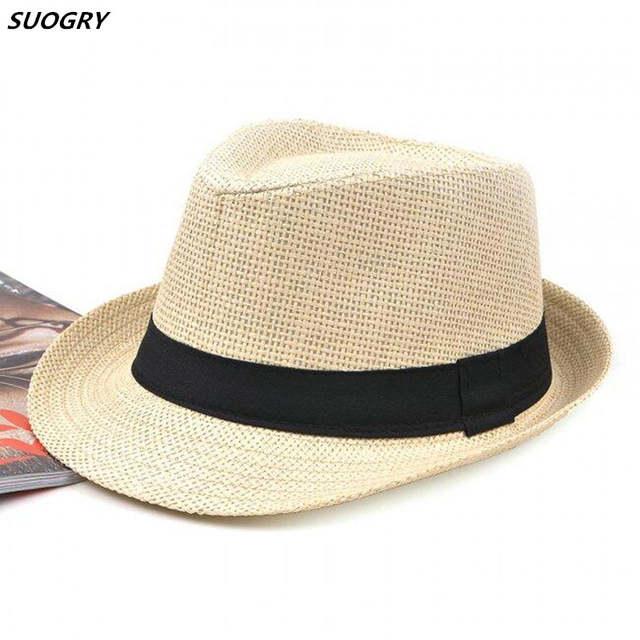 9d1f2935995 Online Shop SUOGRY Women Hat For Men Hat Ladies Summer Beach Cap Sun Hat  Female Panama Straw Male Gangster Trilby Fashion Sun Visor Cap