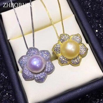 b35bb261f0e7 ZHBORUINI collar de perlas naturales de agua dulce perla colgante flor de  la joyería de la plata esterlina 925 para mujeres venta al por mayor envío  de la ...