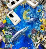 Picture In Picture Mural Wallpaper Sea Turtle Seaweed Coral Shark 3d Flooring Wallpaper 3D Stereoscopic