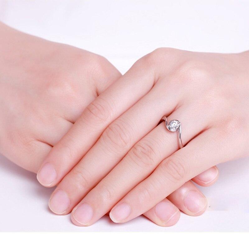 ANI 18 K Oro Bianco (AU750) donne Wedding Ring 0.2 CT Certified I/SI Tondo Taglio Diamante Solitario Amanti del Design Anelli di Fidanzamento - 4