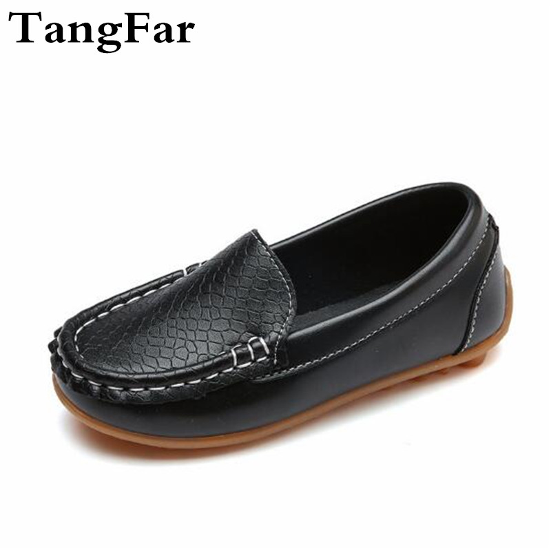 Discount Boys Girls PU Leather Moccasins Comfortable Children Anti-slip Loafers Black White Toddler Flats Heel Shoes