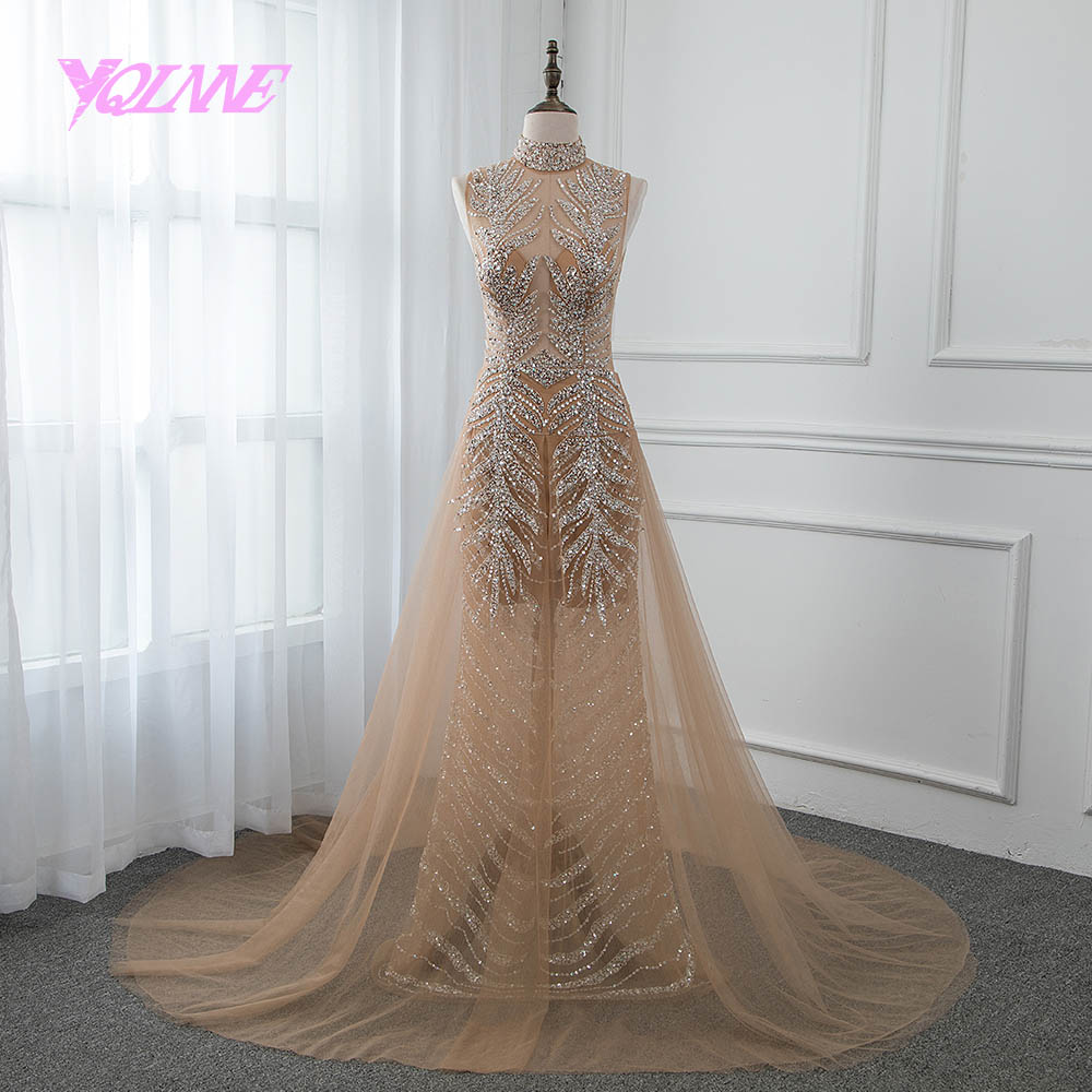 YQLNNE 2019 Champagne Rhinestones   Evening     Dress   Long High Neck Backless Prom Gown Robe De Soiree Pageant   Dresses