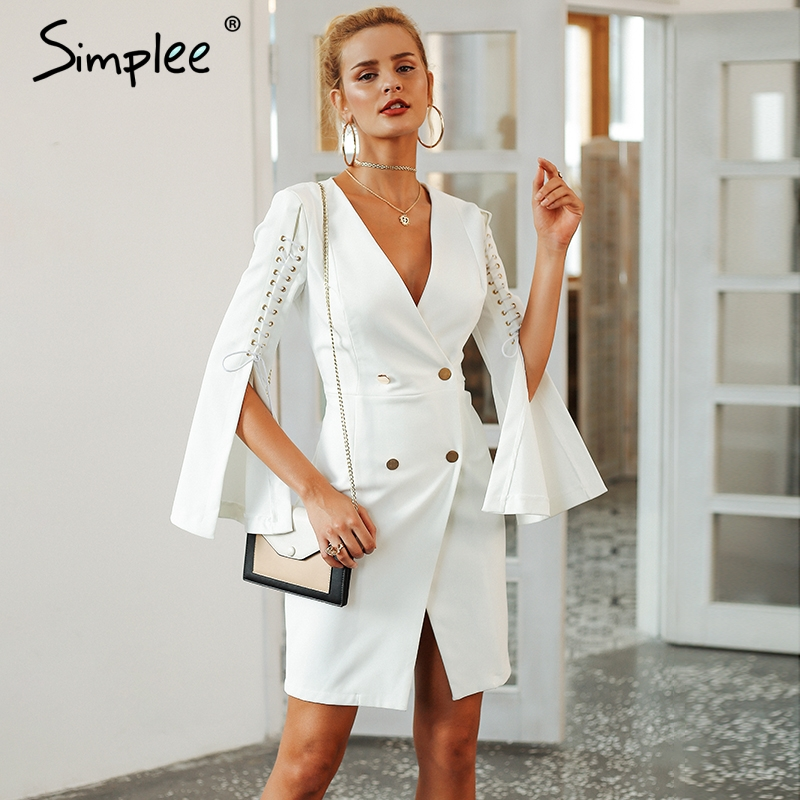 Simplee Elegante spitze up split blazer frauen kleid Herbst 2018 zweireiher weiß kleid Büro schlank damen kleider vestidos
