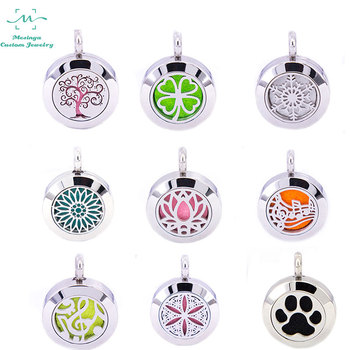 10pcs new 20mm series Aromatherapy / Essential Oils 316L Stainless Steel Diffuser magnet Locket Necklace