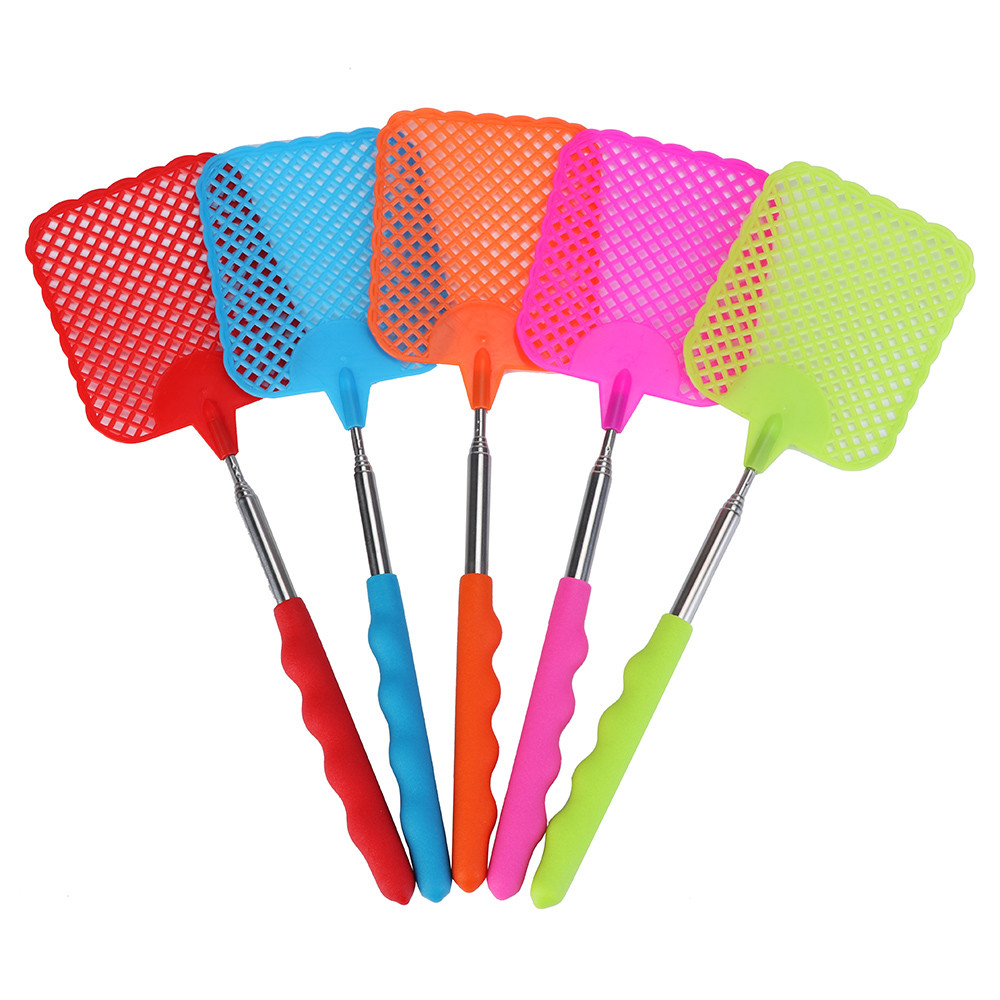 1Pcs Plastic Fly Swatter High Quality Telescopic Beat Insect Fly Swatter Tool Household Mosquito Killing Flies Fly Swatter