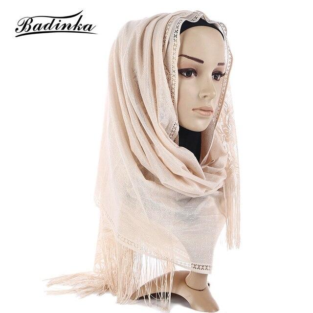 f842e22e478e3 Badinka 2018 New Black White Premium Jersey Plain Cotton Hijab Scarf Women  Shimmer Muslim Head Hijab Tassel Scarves for Ladies