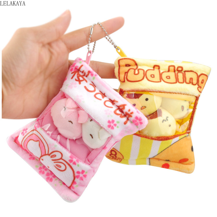 Cartoon Plush Keychain Soft Stuffed Creative Bag Xmas Pendants Children's Lovely Kawaii Pudding Dog Rabbits Animals Keychains