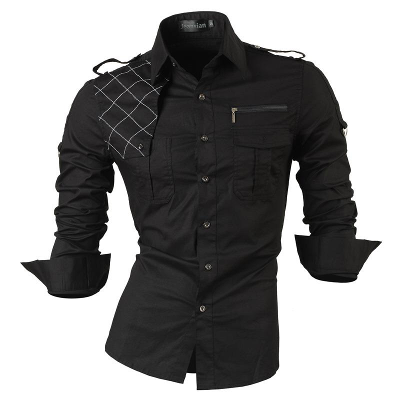 Image 3 - Jeansian Mens Dress Shirts Casual Stylish Long Sleeve Designer Button Down Slim Fit Z014 WhiteCasual Shirts   -