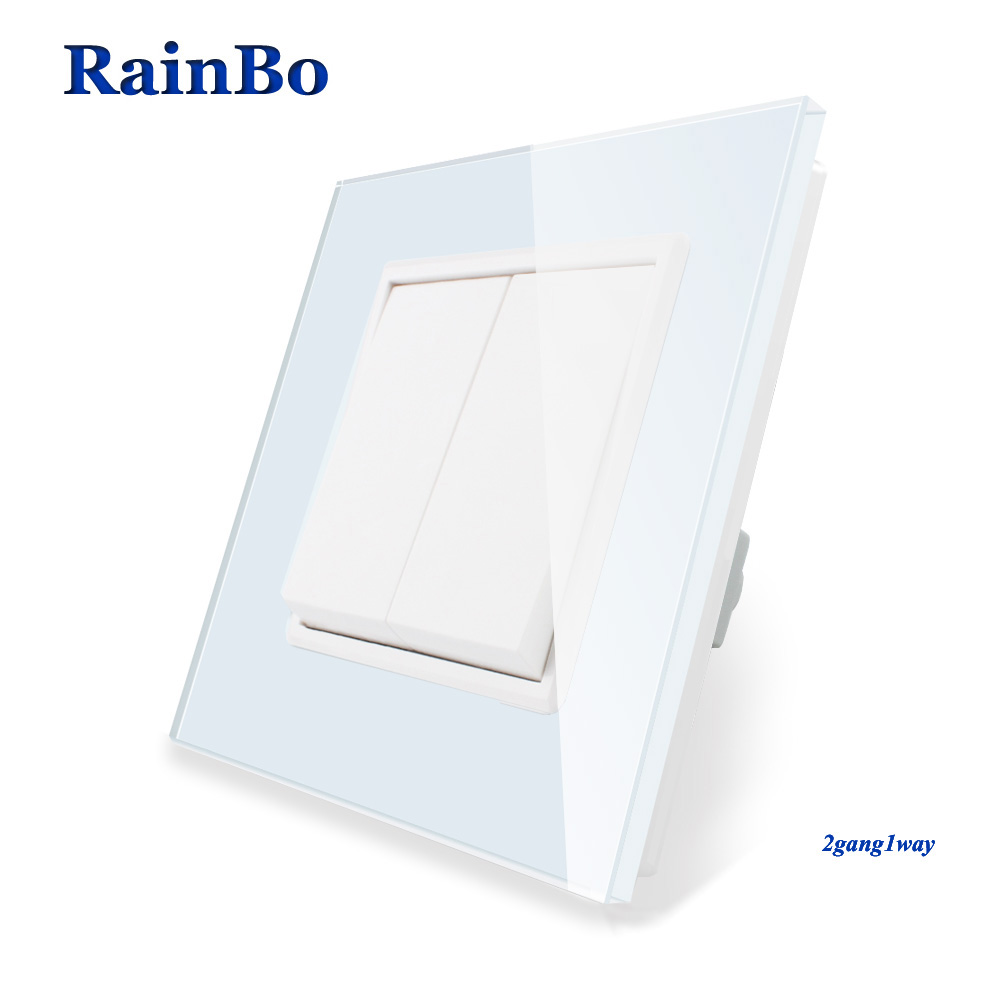 RainBo Brand Manufacturer 2gang1way Luxury  Crystal Glass Fashion Panel Push Button Inteligente Wall Light Switch  A1721W/BRainBo Brand Manufacturer 2gang1way Luxury  Crystal Glass Fashion Panel Push Button Inteligente Wall Light Switch  A1721W/B
