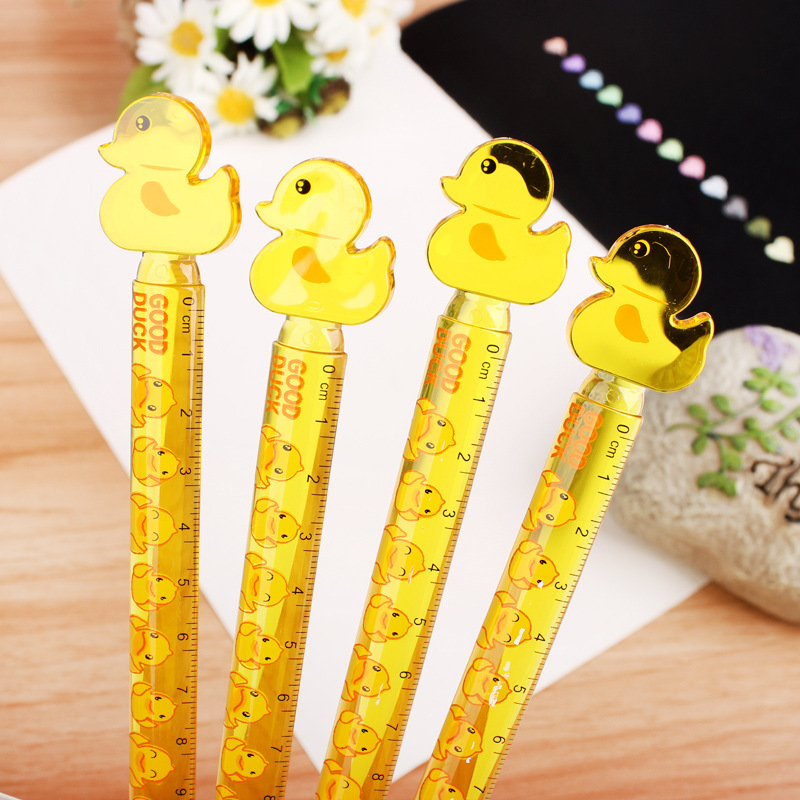1PC Student Drawing Cute Cartoon Duck Rhubarb 12cm Plastic Ruler Student Stationery Office Supplies(China)