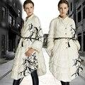 Parkas Para As Mulheres de alta Qualidade Designer de Moda Europeu 2016 Inverno Pato Branco Para Baixo Casaco Jaqueta Parka Longo Impresso Com Bolso