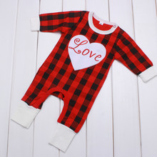bcc67524e57b Baby Girls Boys Christmas Romper Newborn X mas Red Plaid Jumpsuit ...