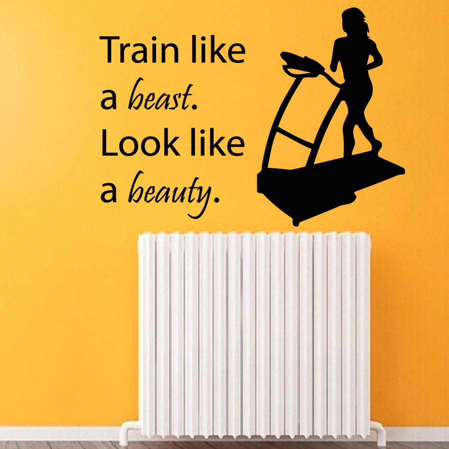 Fitness Wall Decals Sport Woman Words Girl Quotes Train Like A Beast Look
