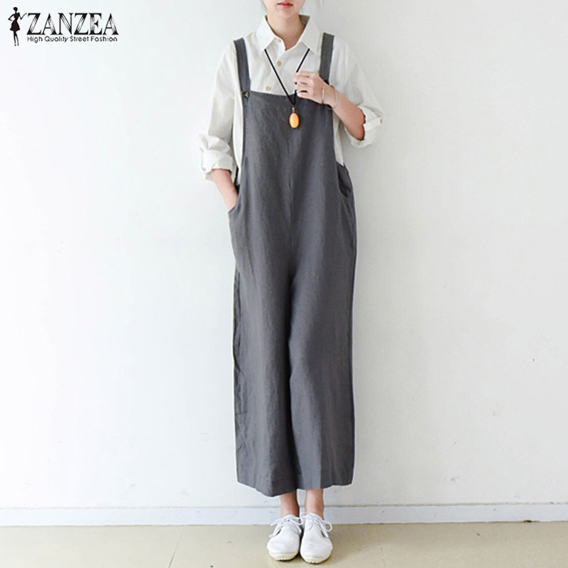 2018 ZANZEA Women Jumpsuits Summer Strappy Sleeveless Loose Rompers Casual Dungarees Solid Wide Leg Pants Cotton Linen Overalls