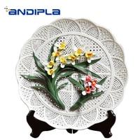 Пасторальный Стиль 3D керамики Нарцисс Орхидея декоративная пластина сидя блюдо/офис фоторамка на стол, телевизор украшения коллекция реме