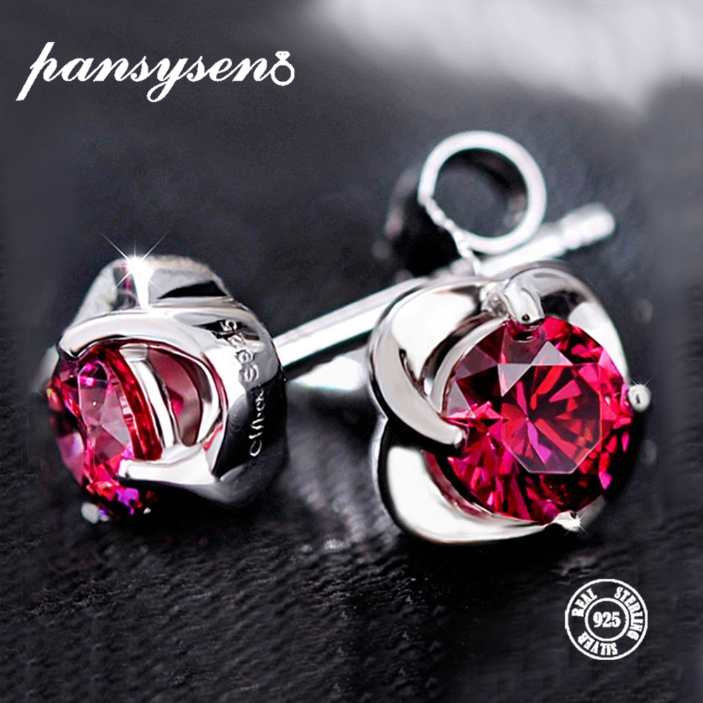 PANSYSEN Luxury Earrings Jewelry Ruby Gemstone 925-Sterling-Silver Created Women Fashion