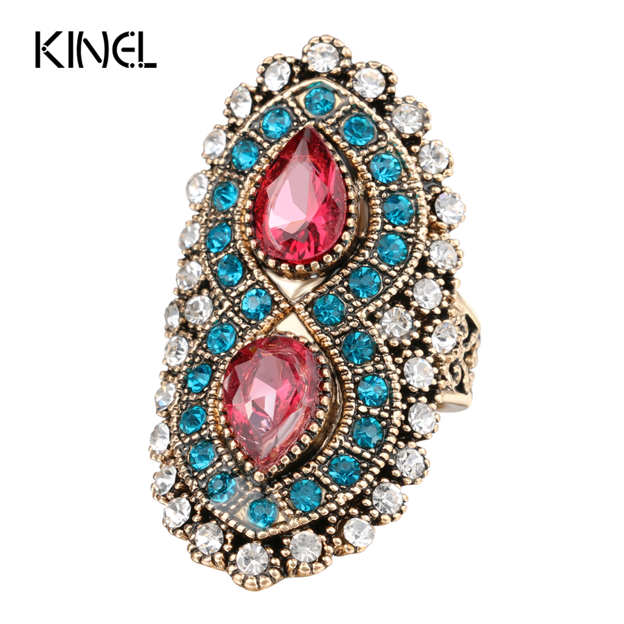 2017 New Fashion Bohemia Pink Rings For Women Color Gold Mosaic Blue Crystal Antique Ring Vintage Jewelry