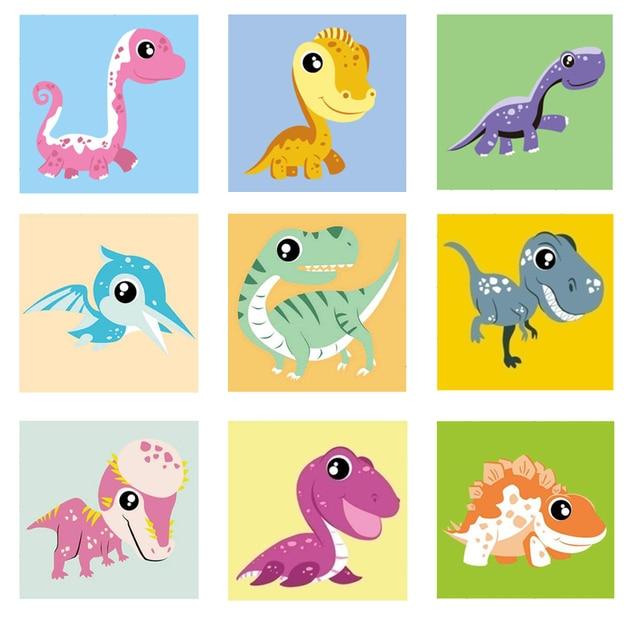2020 Imagen De Dinosaurio De Dibujos Animados Enmarcado Para Niños Pintura Acrílica De Números Pincel Dibujo Pintura Para Colorear Por Número