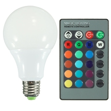 One Set LED Bulb Lamps AC85-265V E27 RGB 16 Color Changing LED Globe Light Lamp Bulb With 24 Keys Remote Control 10W