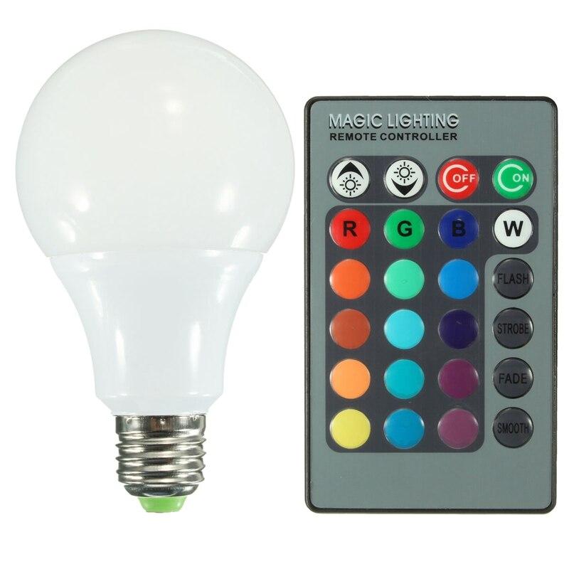 One Set LED Bulb Lamps AC85-265V E27 RGB 16 Color Changing LED Globe Light Lamp Bulb With 24 Keys Remote Control 10W rgb led bulb 9w 15w rgb bulb e27 e26 e14 gu10 b22 ac 85 265v rgb led lamp with remote control multi color lamp
